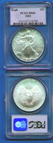 PCGS Uncirculated U.S. Silver Eagle dollar coins