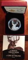 White Tailed Deer $20 Silver coin Portrait with Rack