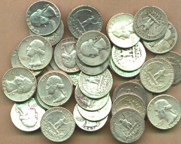 Bags of US SILVER COINS, 90% pure - Junk silver dimes