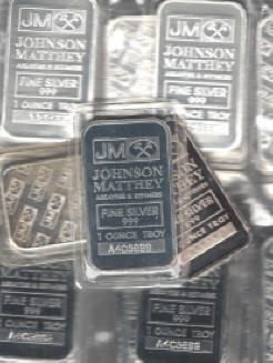 Johnson Matthey Refinery Silver Bars 1 And Ten Ounce
