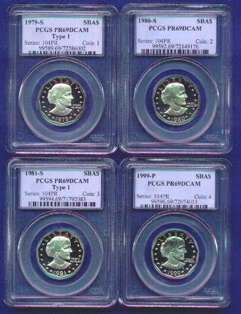 Set of all four Susan B. Anthony proof dollars - PCGS PR69 DCAM