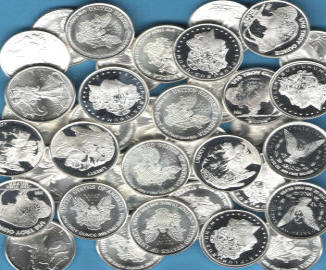Group of TENTH ounce SILVER Rounds