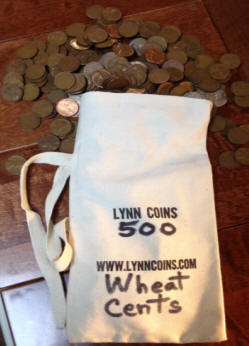 BAG of 500 US WHEAT PENNIES