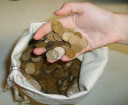 hand full of wheat back pennies