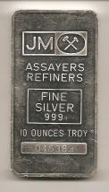 Johnson Matthey 10 ounce silver bar